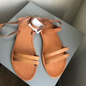 NWT.  Ankle strap leather brown sandals.